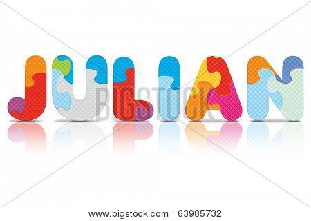 JULIAN written with alphabet puzzle - vector illustration