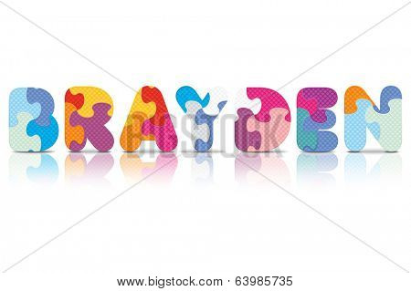 BRAYDEN written with alphabet puzzle - vector illustration