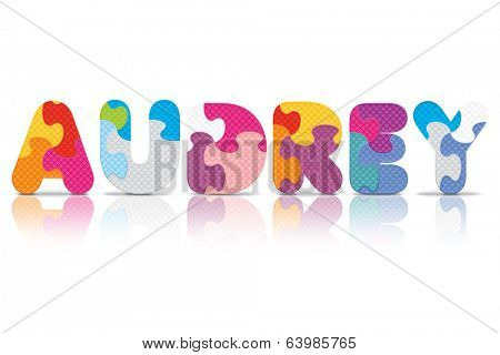 AUDREY written with alphabet puzzle - vector illustration
