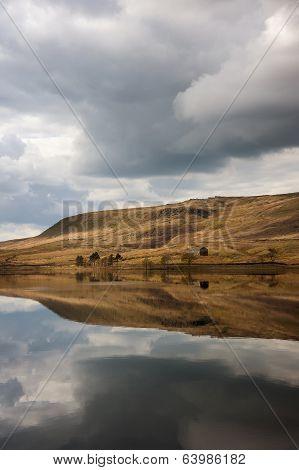 Calm waters on moorland reservoir