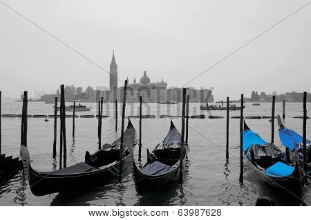 Empty gondolas in Venice during winter
