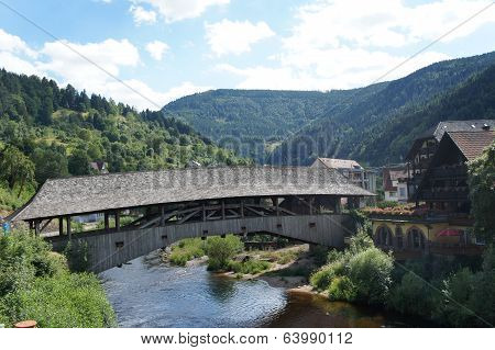 Historically wooden bridge in the Black Forest