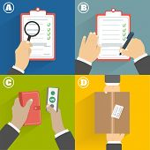 Business concept. Set of hands clients purchasing poster