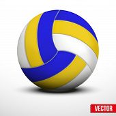 Volleyball ball in traditional tricolor colors on white background. Vector realistic Illustration. poster