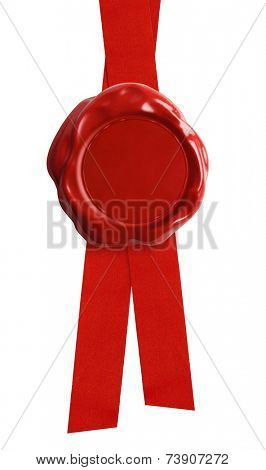 Wax seal with red ribbon isolated on white