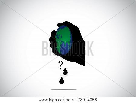 Human Hand Silhouette Squeeze Planet Earth For Fossil Fuel Global Warning Environmental Distruction