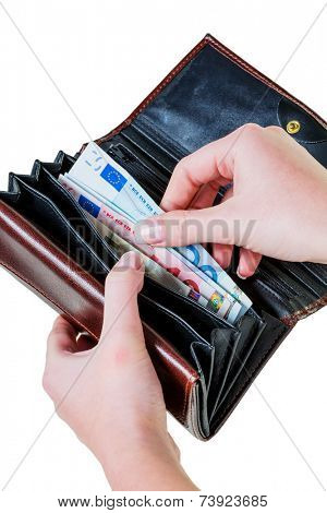 in a wallet, there are some euro banknotes. money is running out by the new poverty.