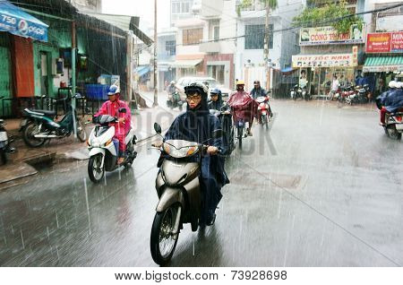 Vietnamese People, Ho Chi Minh City In Rain