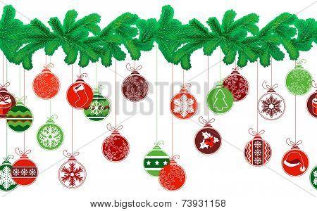 Seamless festive Christmas garland with fir and different glass balls