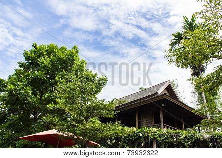 Teak Wood Home Lanna Thailand Style With Sky