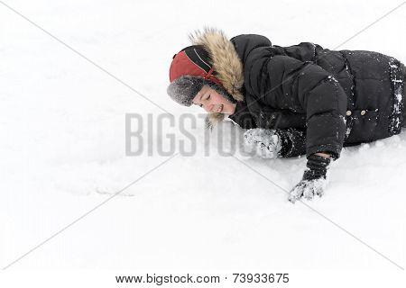 Teenage Boy Playing Snow In Winter