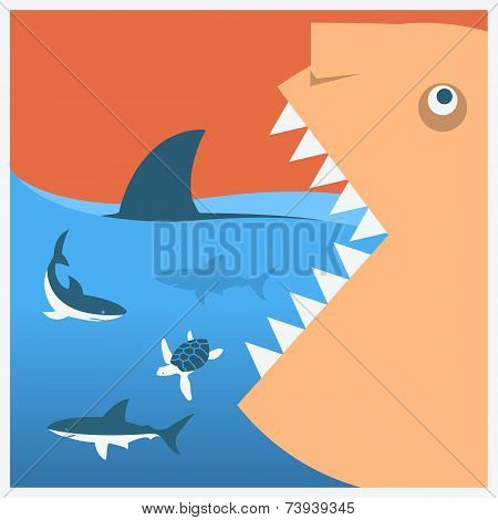 Keep sharks safe. Vector symbol poster with human head eats the living world poster