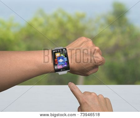 Human Finger Point App Icons Of Smartwatch With Bent Interface