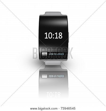 Ultra-thin Black Glass Bent Interface Smartwatch With Metal Watchband