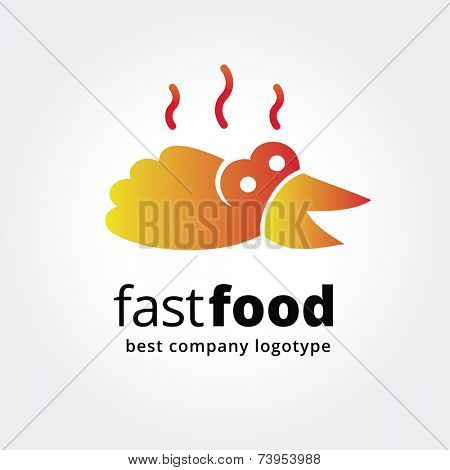 Abstract fast food logo icon concept isolated on white background for business design. Key ideas is kitchen, cook, fast  food, cook, design. Concept for corporate identity and branding. Stock vector.