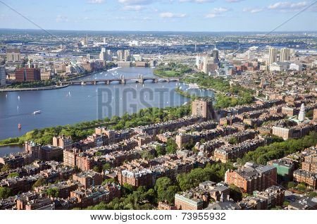 Charles River and Back Bay apartment, Boston, Massachusetts, USA.