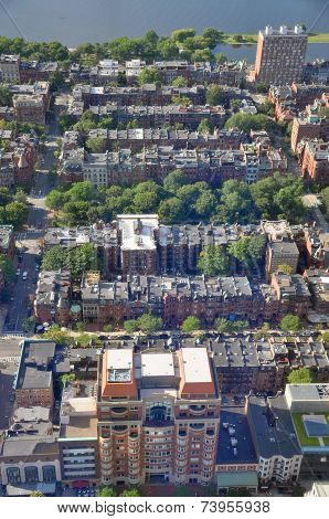Aerial view of Back Bay apartment in Boston, USA.