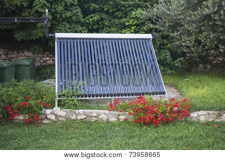 Vacuum solar water heating system in the yard house poster
