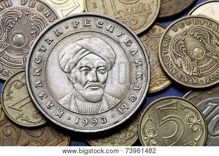 Coins of Kazakhstan. Muslim scholar Al-Farabi also known as Alpharabius depicted in the Kazakhstani 20 tenge coin.