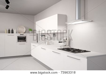 3D Illustration White new kitchen with counter top and exhaust hood