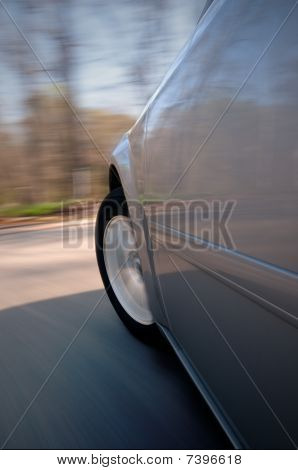 blurred surroundings of a car driving fast