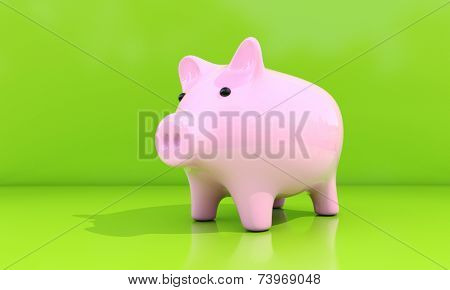 Shiny pink piggy bank on a green background