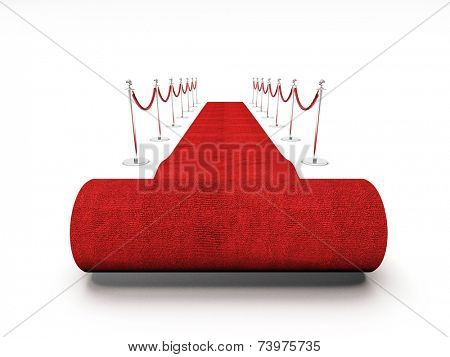 3d image of red carpet on white stair