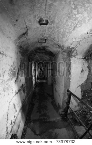 Internal Tunnel connecting of the abandoned Sommo Fort of World War I poster
