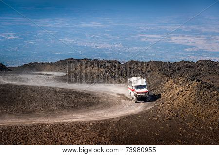 The path to the top of Mount Etna volcano