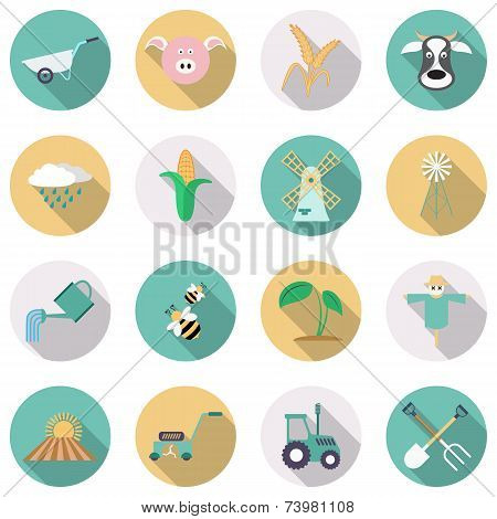 Agriculture and farming icons. Flat style with long shadows. Vector illustration poster
