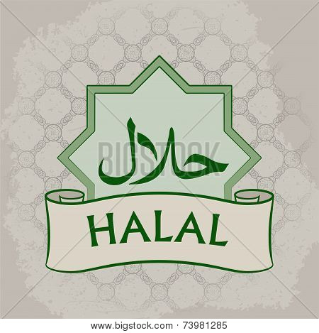 Halal Product Label. Vector illustration