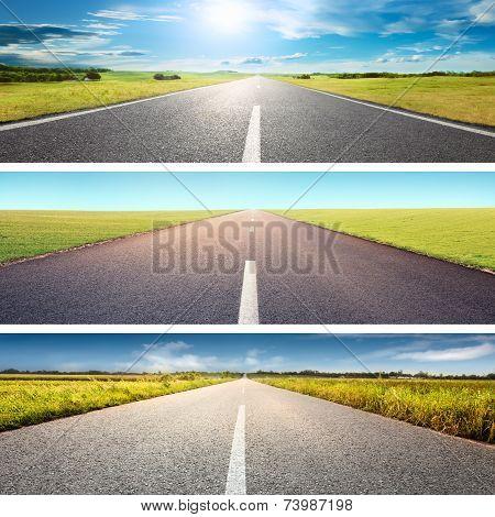 Empty Asphalt Road At Day - Banner