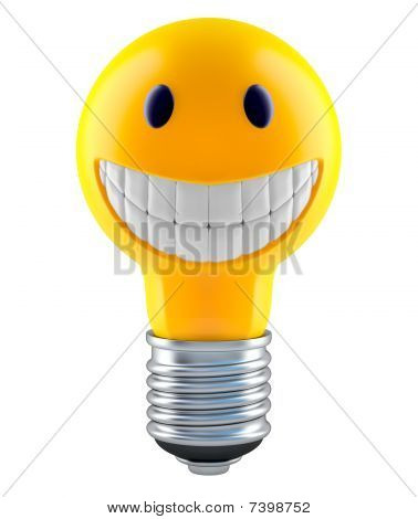 Light bulb in smiley face style