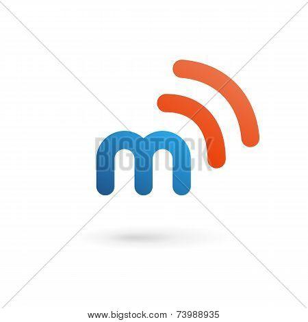 Letter M Wireless Logo Icon Design Template Elements