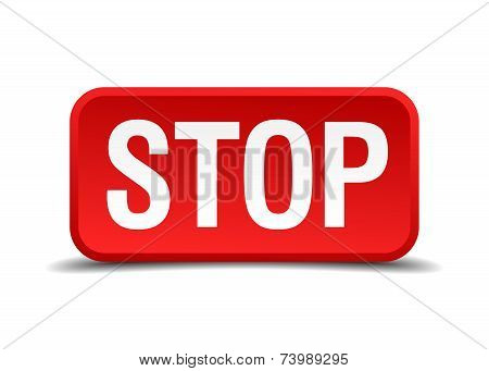 Stop red 3d square button isolated on white poster