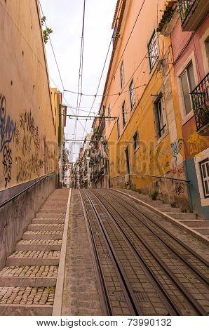 LISBON, PORTUGAL - APRIL 1, 2013: Famous Bica funicular (Elevador da Bica) on October 26, 2013 in Lisbon, Portugal.