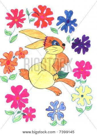 Kid's pencil drawing of rabbit and flowers, sketch poster