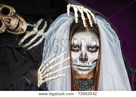 Young Woman A Bride In A Veil Day Of The Dead Mask Skull Face Art And Skeleton.