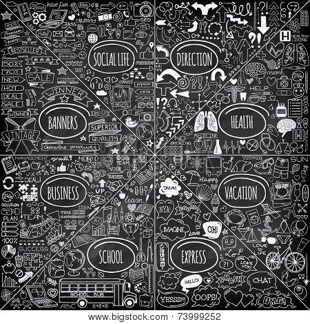 Mega set of doodle icons.