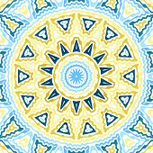 Zig Zag Background in blue, yellow, white poster