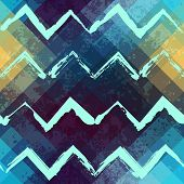 Seamless background pattern. Grunge chevrons on pixel background. poster
