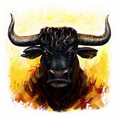furious  bull head digital painting. stylized oil painting poster