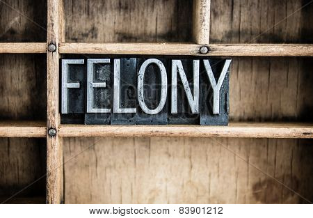 Felony Concept Metal Letterpress Word In Drawer