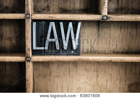 Law Concept Metal Letterpress Word In Drawer