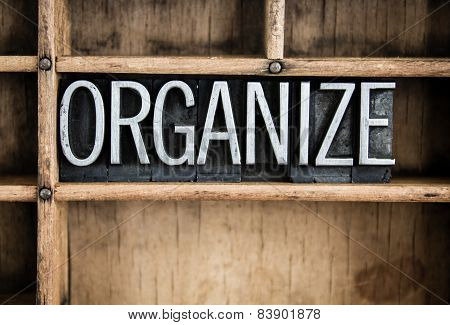 Organize Concept Metal Letterpress Word In Drawer