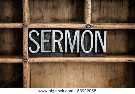 Sermon Concept Metal Letterpress Word In Drawer