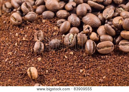 Coffee Beans With Coffee Powder