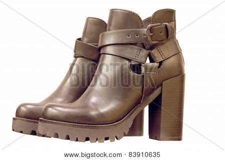 High-heeled Womanish Boots.isolated