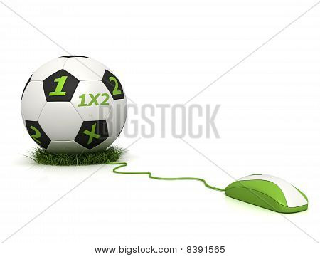 conceptual image of football betting on line - rendering poster