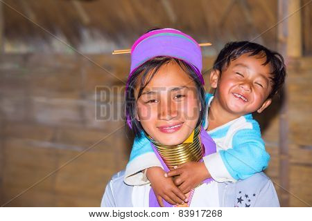 Karen Tribal Woman With Her Son From Padaung Long Neck Hill Tribe Village